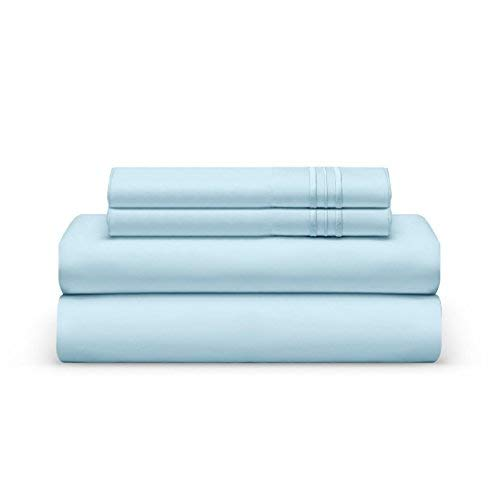 King Bed Sheet Set - Light Blue Luxury Sheet Set - Super Soft Hotel Bedding Deep Pocket - Cool & Wrinkle Free - 1 Fitted, 1 Flat, 2 Pillow Cases - Ocean Breeze King Bedding - 4 Pieces