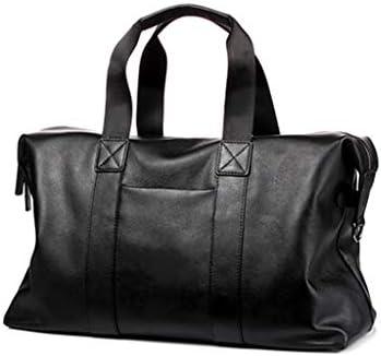 メンズレザー素材ポータブルビジネストラベルバッグ大容量のゴルフ服荷物バッグ防水素材ブラック HMMSP