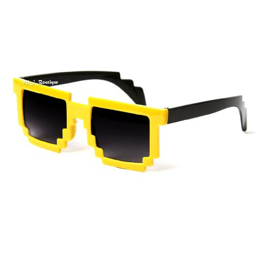 Minecraft Costumes For Free (Block Pixelated Sunglasses 8-Bit Pixel Video Gamer Geek Costume Party (Yellow))