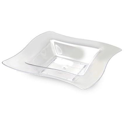 /trasparente Confezione di 10/plastica elegante Waved progettato piazza piatti fondi//ciotole party/ /340,2/gram 340/ml /