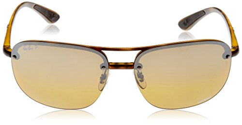 Ray-Ban Mens Plastic Man Polarized Iridium Square Sunglasses, Matte Havana, 63 mm