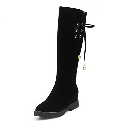 AgooLar Pointed Zipper Kitten Closed Solid Black Imitated Suede Toe Women's Heels Boots Yxf0YqrR