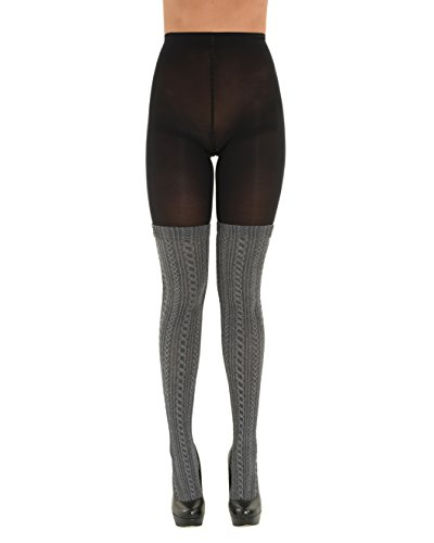 Womens Mock Thigh High Tights Black Gray Textured Attached Pantyhose Sizes: Small-Medium
