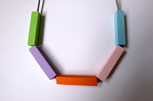 Handmade Multicolored PASTELS Wood/Wooden Bead/Beaded Bar Tube Necklace - Minimalist/Contrast