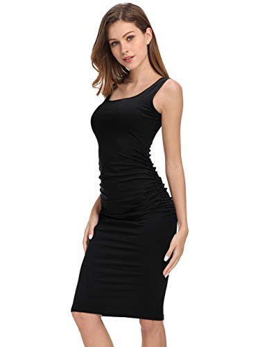 GloryStar Women's Long Sleeve Ruched Bodycon Midi Sheath Pencil Dress (XL, Sleeveless Black)