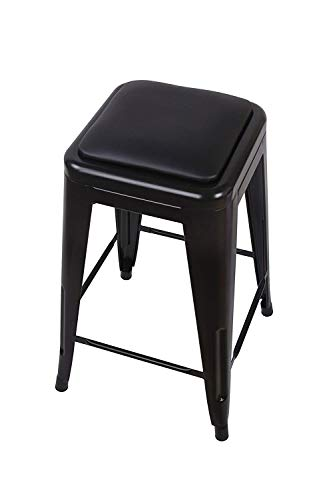 GIA 24-Inch Backless Counter Height Stool with Faux Leather Seat, Black, 2-Pack