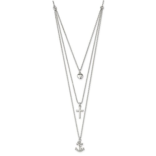 925 Sterling Silver Cubic Zirconia Cz Heart/cross/anchor Multi Strand 16 Inch Chain Necklace Pendant Charm S/love Religious Anchor Layer Fine Jewelry Gifts For Women For Her