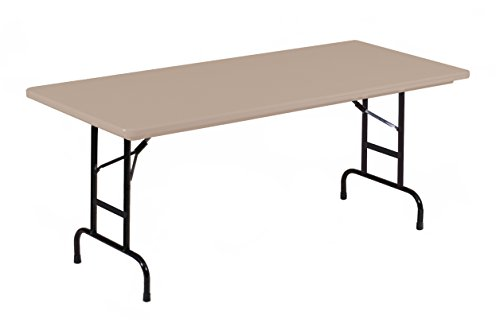 Correll RA3072-24 R Series, Adjustable Height Blow Molded Plastic Commercial Duty Folding Table, Rectangular, 30 x 72 , Mocha Granite