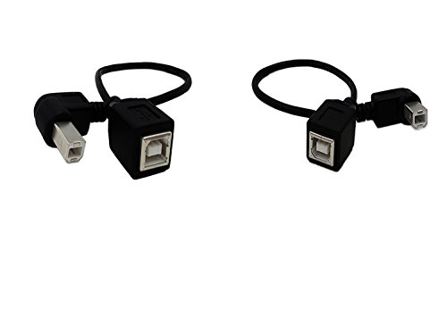 USB 2.0 Type-B Printer Cable,SinLoon(2-Pack) USB 2.0 B Female to Left Angle+Right Angle B Male Printer Short Extension Cable,for Printer, Scanner, Mobile HDD and More (L-R)