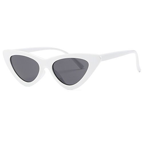 Kimorn Cat Eye Sunglasses Women Clout Goggles Kurt Cobain Retro Sun Glasses K0566 - Sunglasses White Womens