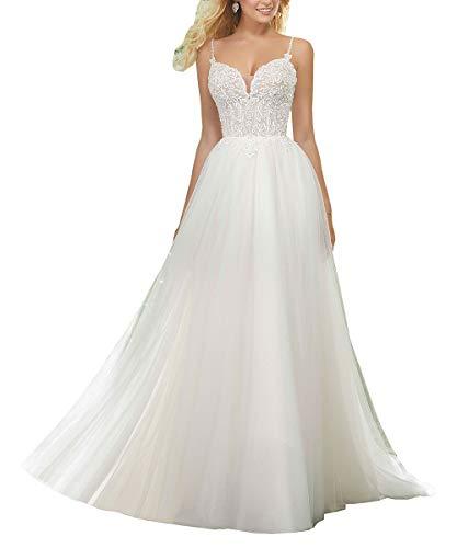 Nicefashion Women's Romantic Sweetheart Beaded Lace Applique Empire Princess Beach Wedding Dresses Plus Size White ()