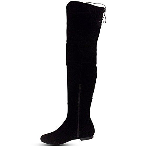 WOMEN LADIES BOOTS THIGH HIGH SUEDE BOOTS FLAT HEELS OVER THE KNEE STRETCH BOOTS SIZE 3-8 Black Suede qbKUv3ue