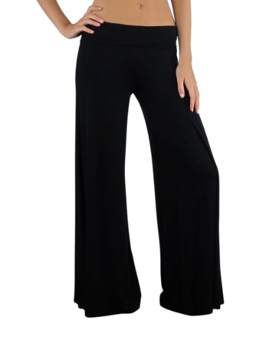 Gaucho Pants Women (Free to Live Women's Wide Leg Boho Palazzo Gaucho Pants (Large, Black))