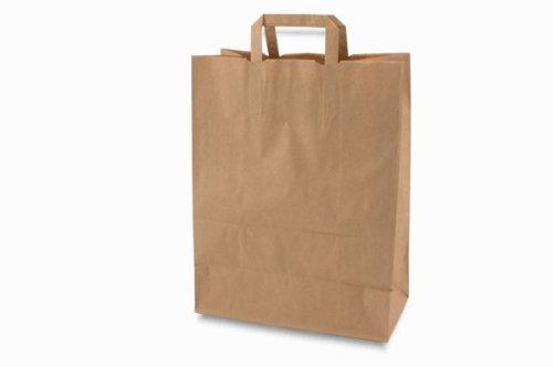250 Papiertragetaschen Papiertaschen Tüten Papiertüten Tragetaschen braun 32 + 12 x 42 cm