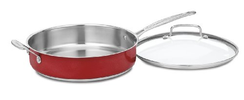 Cuisinart CS33-30HMR Chef's Classic Stainless 5-Quart Saute Pan with Helper Handle and Cover, Metallic Red (Cuisinart Mcp Saute Pan compare prices)