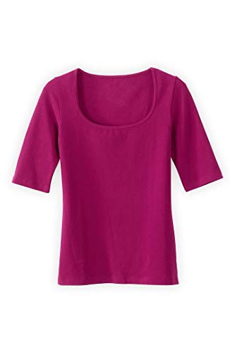 (Fair Indigo Fair Trade Organic Elbow Sleeve Scoop Neck Tee (M, Berry))