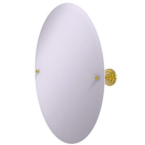Allied Brass PQN-91 Frameless Oval Tilt Beveled Edge Wall Mirror, Polished - Brass Frameless Oval Tilt Beveled Bathroom Mirrors Allied