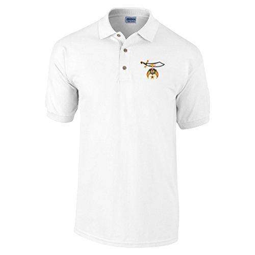 Logoz USA - Shriners Polo Golf Shirt Masonic Apparel Personalized Clothing- Mens Dress Shirt White]()