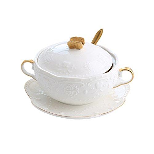 European Vintage Embossed Butterfly Gold Ear Bowls, Court Sugar Dessert Porridge Bowl, Steamed Egg Bowl, Ceramic Bird'S Nest Stew Pot 3 sets-3