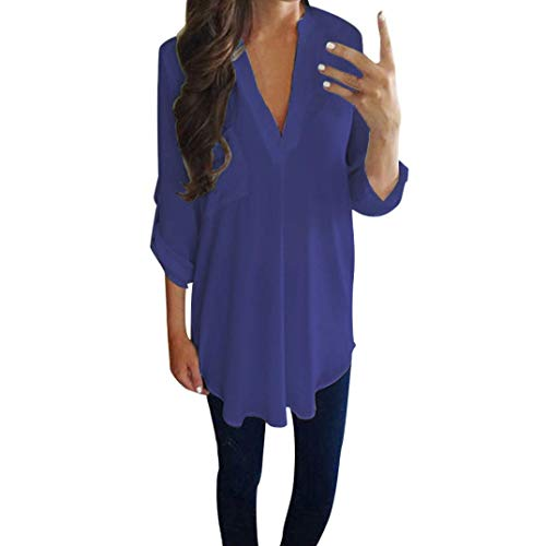 Women Chiffon Top Duseedik Ladies Casual Long Sleeve V Neck Shirt T-Shirt Blouse Blue