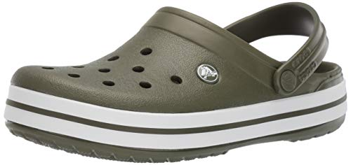 Crocs Crocband Clog, Army Green/White, 6 US Men/ 8 US Women M US (Croc Embossed Olive Green)