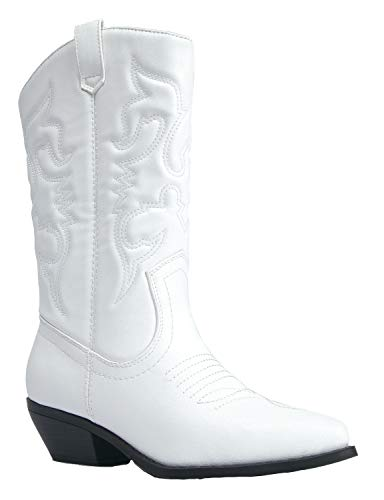 J. Adams Lasso Knee High - Western Cowboy Embroidered Pointed Toe Pull On Boot ()