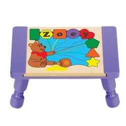 babykidsbargains Personalized Honey Bear Puzzle Stool - Color: Purple Stool, Primary Puzzle