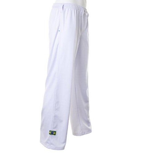 JL Sport Authentic Brazilian Capoeira Martial Arts Pants - Unisex (White) L