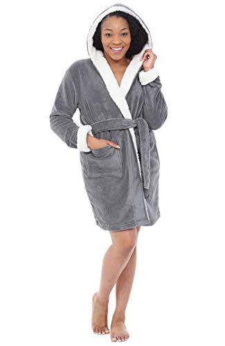 (Alexander Del Rossa Womens Short Fleece Hooded Robe, Bathrobe with Trim, Large XL Steel Grey (A0277STLXL))