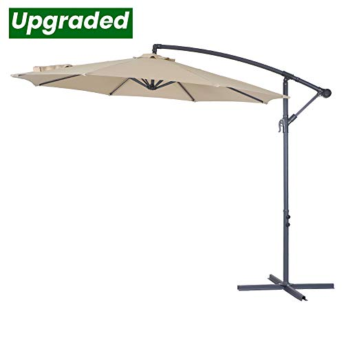 Crestlive Products Upgraded 10 ft Patio Offset Cantilever Umbrella Outdoor Hanging Umbrella with Crank and Cross Base, Gray Umbrella Pole and Ribs (Tan)
