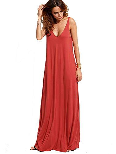 Verdusa Women's Casual Sleeveless Deep V Neck Knitted Shift Sexy Maxi Long Dress Orange Red L