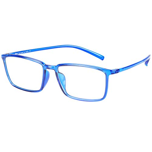 DUCO Blue Light Blocking Glasses Superlight Eyeglasses Frame Anti Blue Ray Computer Gaming Glasses 306 (Shine Blue)