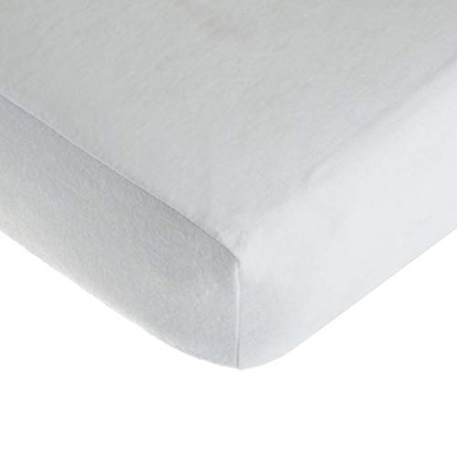 TL Care 100% Cotton Flannel Fitted Crib Sheet, White, for Boys and - Crib Care