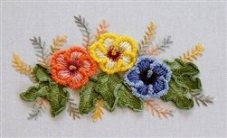 Hibiscus Trio - DK Designs Brazilian Embroidery pattern & fabric #3880