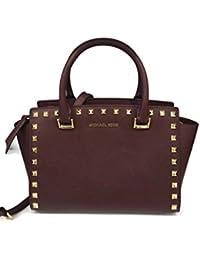 fe2d4195f1530 MICHAEL Michael Kors Selma Stud Leather Satchel Shoulder Bag - Merlot