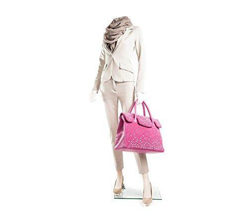 Kelly Perla - Passione Bags - Borsa da donna in vera pelle a mano o a spalla color fuxia con mezze perle Swarovski - Made in Italy