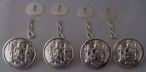 4 New York State Seal Silver Uniform Buttons Large Pins/Washers NY Police/fire by HighQ Store