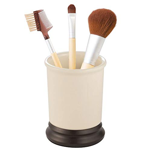 mDesign Vintage Round Ceramic Tumbler Cup for Bathroom Vanity Countertops for Rinsing, Drinking, Storing Dental Accessories and Organizing Makeup Brushes, Eye Liners - Ivory/Bronze