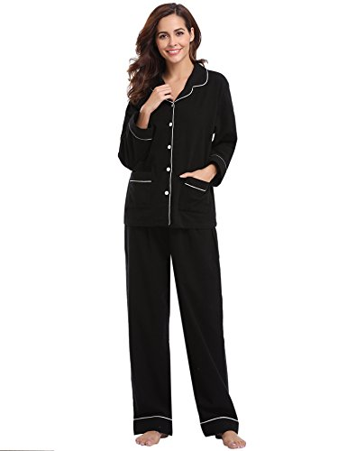 Aibrou Womens Pajamas Set Cotton Long Sleeves With Pants Flannel Sleepwear PJ Set (Set Pants Pajama Flannel)