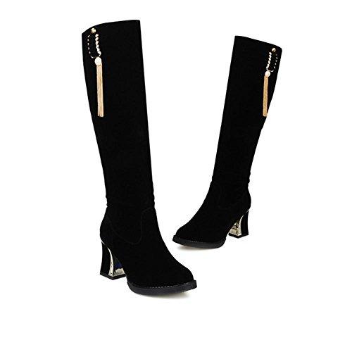 H HQuattro stagioni femminile tacco grosso strofinare scarpe scamosciate (nero. Rosso. Blu) stivali femmina ad alto fusto , black , 37