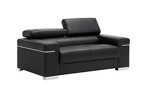 (J and M Furniture 17655111-L-BK Soho Loveseat in Black Leather)