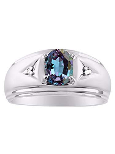 Classic Oval Simulated Alexandrite & Diamond Ring Set in Sterling Silver .925 June Birthstone
