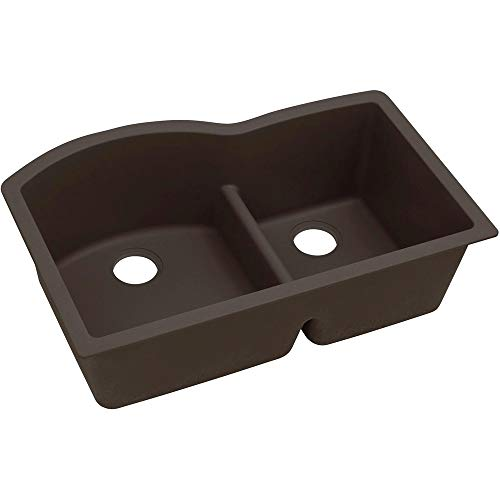 Elkay Quartz Luxe ELXHU3322RCN0 Chestnut Offset 60/40 Double Bowl Undermount Sink with Aqua Divide