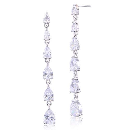 (CZ Linear Earrings for Women Sterling Silver Multi Teardrop Cubic Zirconia Long Linear Drop Post Earrings Crystal Bridal Wedding Prom Party Dangle Earrings for Bride Bridesmaids Elegant)