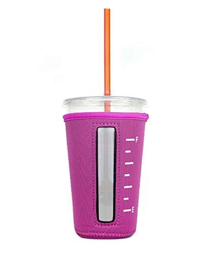 Insulated Neoprene Cup Sleeve/Holder for Iced Beverages, Coffee, and Tea (Pink, Medium)