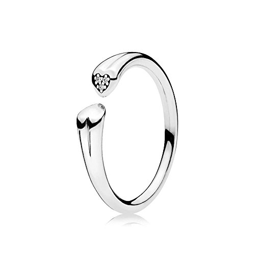 PANDORA Two Hearts Open Ring, Sterling Silver With 3 Micro Bead-Set Clear CZ 196572CZ-52 EU 6 US (Bead Three Ring)