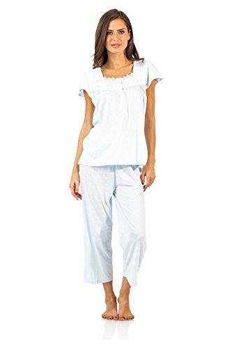 Dot Capri Set Clothes (Casual Nights Women's Lace Cap Sleeve Capri Pajama Set - Dot Blue - XX-Large)