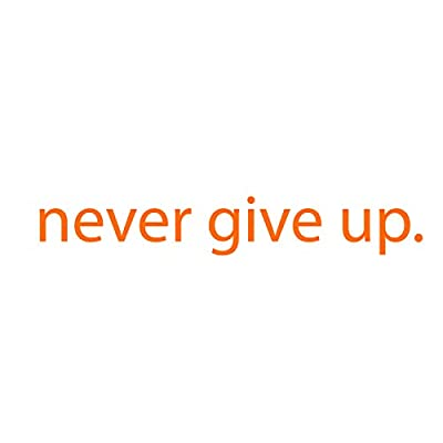 "Imprinted Designs Never Give Up Motivational Quote - Wall Art Decal - 2"" x 18"" Decoration Sticker - Life Quote Decal - Over The Door Vinyl Sticker - Peel Off Vinyl Decals"