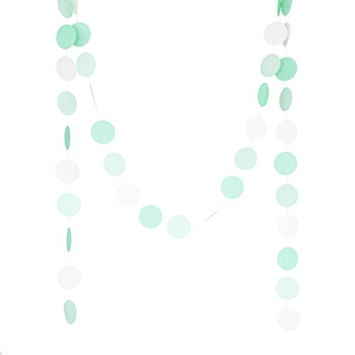 Chloe Elizabeth Circle Dots Paper Party Garland Backdrop (10 Feet Long) - Aqua, Mint, Pearl White (Tiffany Blue Party Decorations)