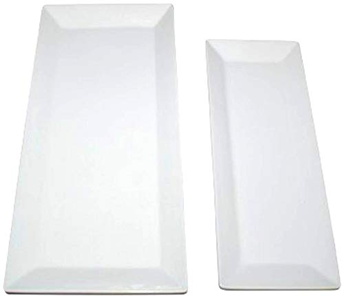 "Large Rectangular Serving Platters - Set of 2 Trays, White Porcelain Ceramic Platter Sizes 15"" x 7"" and 12"" x 5"""